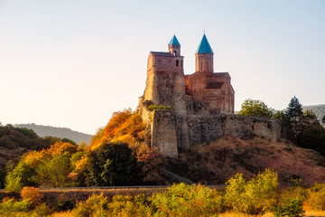 Historical Gremi fortress in Kakheti region at sunset, Georgia