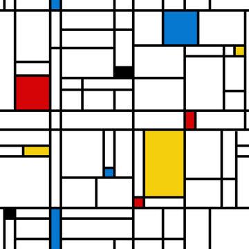 Mondrian style abstract geometric seamless pattern.