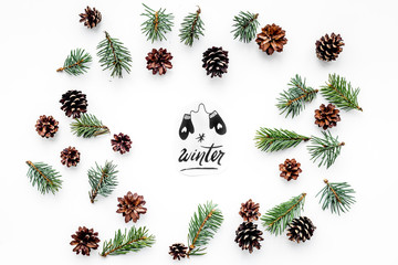 Winter hand lettering and painted mittens. Winter pattern with spruce branch and cones on white background top view