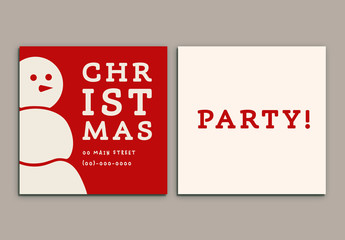 Snowman Christmas Party Invitation Layout 1