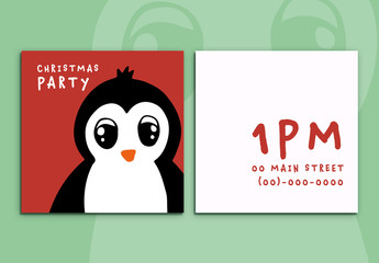 Christmas Party Invitation with Penguin Illustration