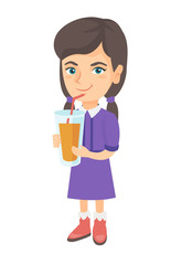 Caucasian girl drinking orange juice through a drinking straw. Little girl holding a glass of fresh orange juice with a drinking straw. Vector sketch cartoon illustration isolated on white background.