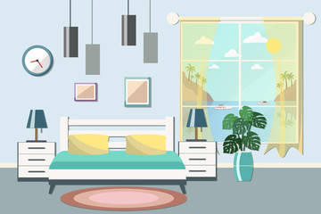 Bedroom or hotel room interior with a sea view. Flat design vect
