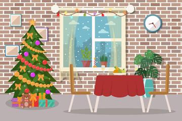 Christmas dining room interior. Flat design.
