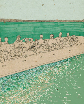 refugees on the boat