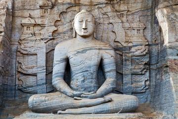 Statue at Gal Vihara Polonnaruwa of Ceylon, Sri Lanka. Stone Buddha