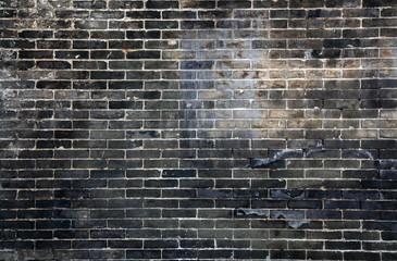 background floor black brick of dark stone texture