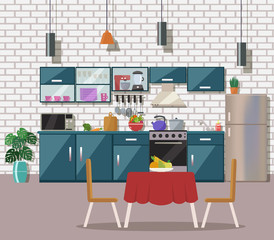 Kitchen interior  with table, stove, cupboard, dishes, appliance