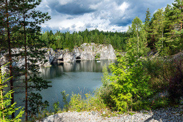 Marble quarry, a beautiful mountain lake