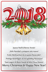 merry christmas and happy new year greeting card with text in many languages