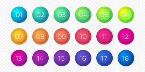Number bullet point flat color gradient web icons set. Step circle buttons or 18 number bullet buttons vector isolated round bubbles on transparent background for web design or internet page template