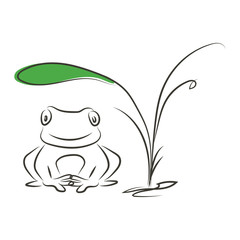 graphic design editable for your design, hand drawn frog under the plant outline in black isolated on white background. Vector Illustration.