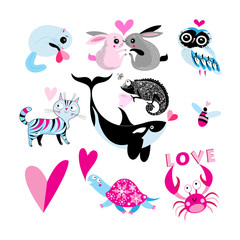 Vector holiday set of enamored animals