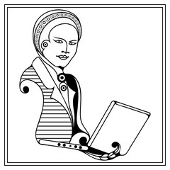 Graphic illustration with a computer user 38