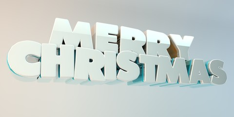"The voluminous letters of the text ""Merry Christmas"", 3d image."