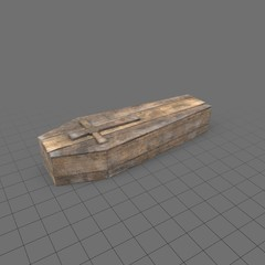 Wood coffin with cross