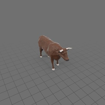 Stylized brown bull standing