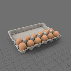 Open container with a dozen eggs