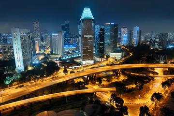 Foto op Plexiglas Singapore Singapore city skyline. Aerial view at night