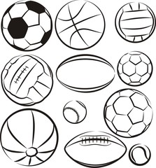 balls - vector outlines set