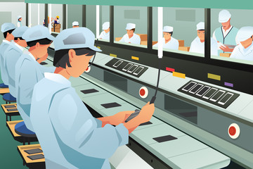 Workers Working in Phone Assembly Factory Illustration