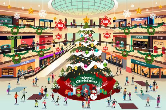 Shopping Mall During Christmas Illustration