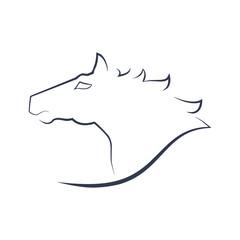 Horse head brush line style logo vector illustration