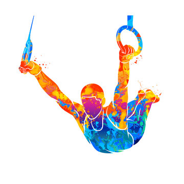 Abstract gymnast on rings