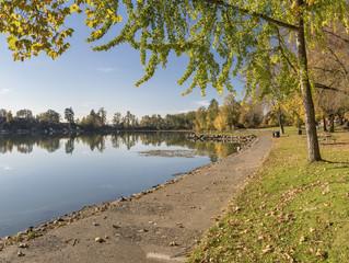 Blue Lake park Autumn landscape Oregon.