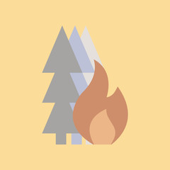 flat icon on stylish background forest fire