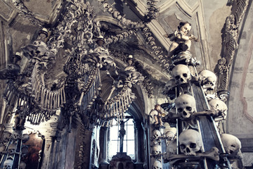 Fragment of an interior of The Sedlec Ossuary, Roman Catholic chapel, located in Sedlec, a suburb of Kutna Hora in the Czech Republic
