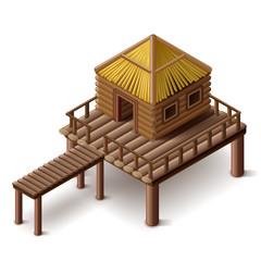stilt house isolated vector