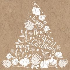 Xmas Decorations. Abstract monochrome Christmas Tree. Hand-drawn vector illustration on kraft background.