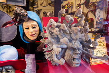 Masks for the Venetian Carnival, a street souvenir shop in Venice, Italy