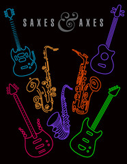 Saxes and axes in neon colors on a black background. For print or web