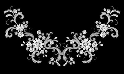 Realistic white vector embroidery fashion symmetric patch. Flower rose daisy leaves vintage victorian design. Stitch texture floral arrangement clothes decoration illustration