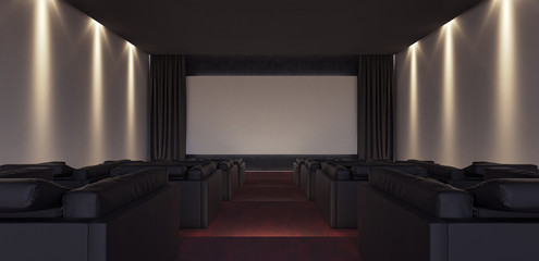 Interior Design of Luxury Home Theater 3D render