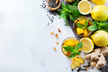 Japanese chinese tea with lemon ginger mint