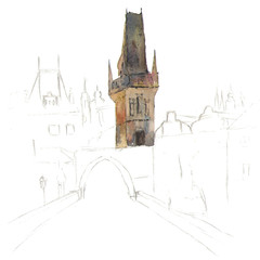 Hand drawing of Old City of Prague in watercolor style: cathedral of st. Wenceslas