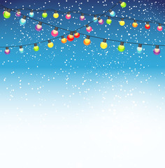 Abstract Beauty Christmas and New Year Background with Garland Bulb Lights and Falling Snow. Vector Illustration