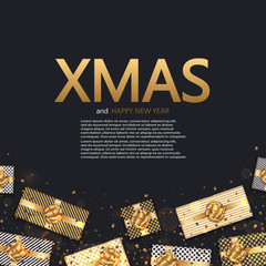 Vector modern Christmas or 2018 Happy New Year winter holiday invitation card background.