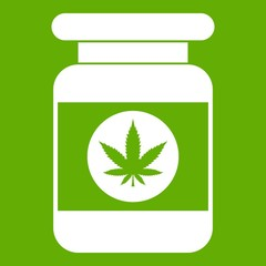 Jar of powder marijuana icon green