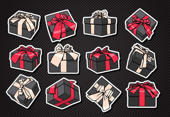 Set Of Gift Boxes Icon With Bow And Ribbon On Black Background Vector Illustration