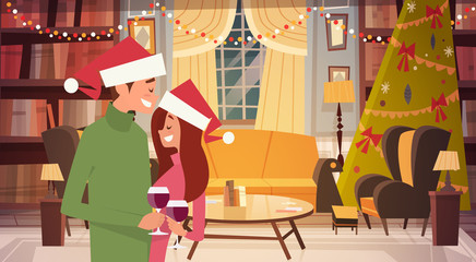 Happy Couple In Santa Hats Embracing In Living Room Decorated For Merry Christmas And Happy New Year Flat Vector Illustration