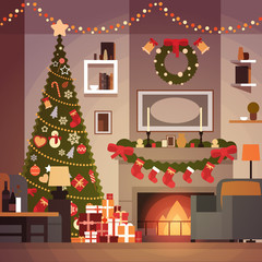 Christmas And New Year Decoration Of Living Room Pine Tree , Fireplace And Garlands Holidays Home Interior Flat Vector Illustration