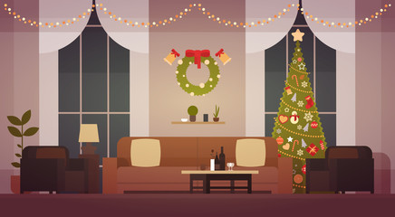 Home Christmas Interior With Pine Tree, Living Room Decoration For New Year Flat Vector Illustration