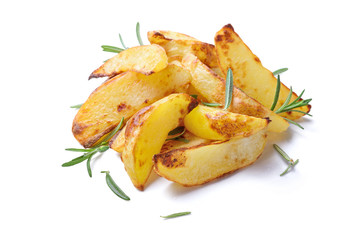 Roasted potatoes on white background