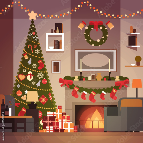 """""""Christmas And New Year Decoration Of Living Room Pine ..."""