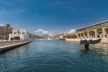 Port of Cartagena city, naval museum is in the background. Murcia province, Spain.