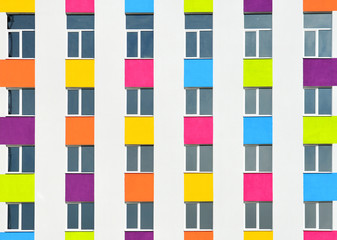 Color facade background with many windows